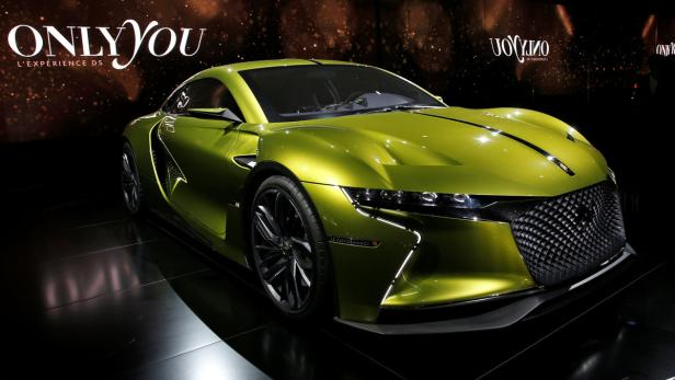 A DS electric E-Tense concept car is displayed on