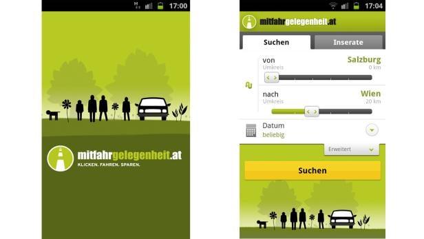 Eindrücke der Android-App von mitfahrgelegenheit.at