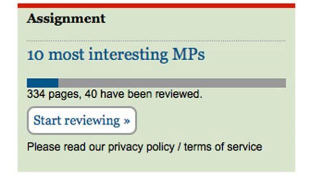 """Screenshot: """"Guardian""""-Crowdsourcing zu Spesenbelegen britischer Parlamentarier"""