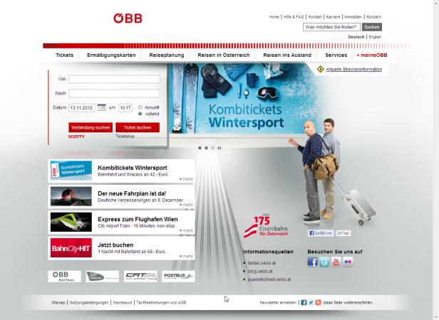 Website der ÖBB