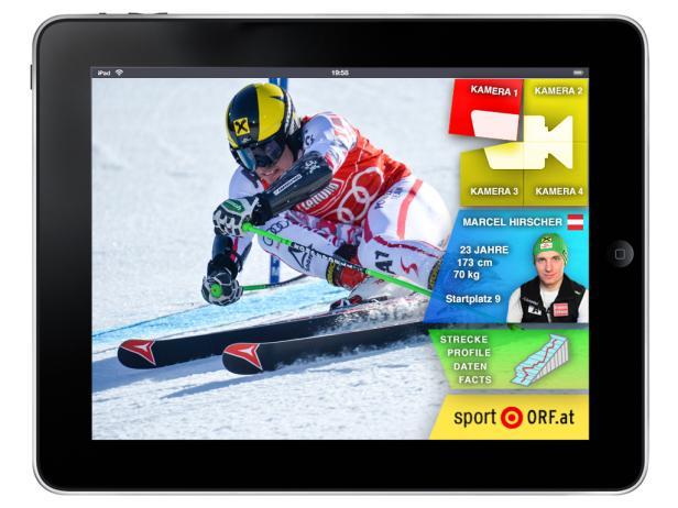 So sieht der Prototyp der Second Screen-Lösung des ORF aus, die anläßlich der Ski-WM in Schladming erstmals genutzt werden kann