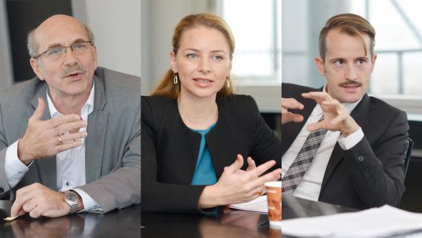 """Gerhard Ruiss von """"Kunst hat Recht"""", Renata Hrnjak von der """"Plattform für ein modernes Urheberrecht"""" und der Anwalt Axel Anderl (v.l.n.r.)"""