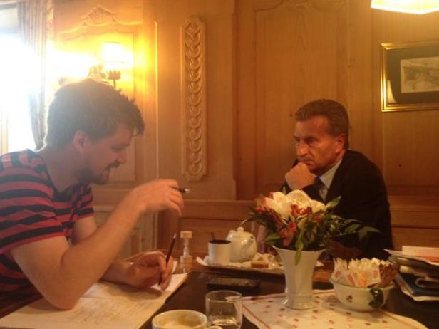 Beim Interview mit Oettinger