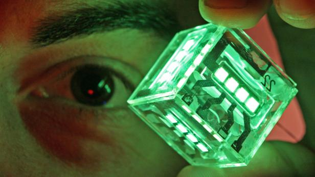 dpa-Zentralbild/Ralf HirschbergeARCHIV - Der Physiker Rico Meerheim vom Institut für Angewandte Photophysik der Technischen Universität Dresden demonstriert am 28.10.2008 einen Testwürfel mit organisch licht-emittierenden Dioden (OLED).Die alte Glühbi