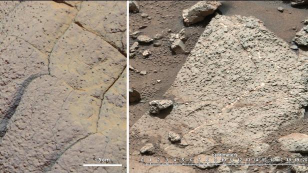 Gestein am Mars: Links ein Sandstein, der durch stark-säurehaltiges Wasser geformt worden sein könnte. Rechts Sedimente, die sich unter Wasser einer lebensfreundlichen Umgebung abgelagert hätten könnten