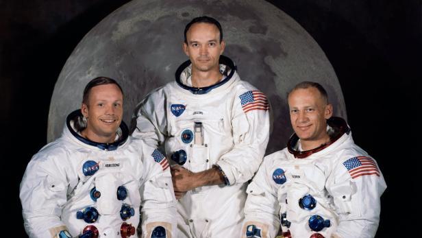 """Die Astronauten der historischen Apollo 11 Mission: Neil Armstrong (li.), Michael Collins und Edwin """"Buzz"""" Aldrin (re.)."""