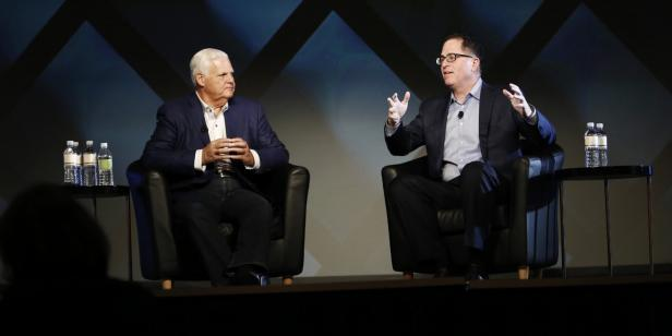 EMC-Chef Joe Tucci und Michael Dell
