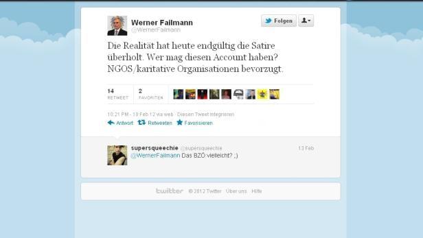 Einer der letzten Tweets von Werner Failmann