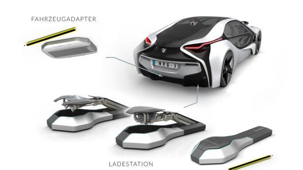 Ladesystem von NRG-X: Eine am Boden montierte Basisstation verbindet sich mit einer Kontaktierungsplatte am Fahrzeugunterboden