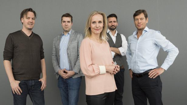 Markus Wagner, Dominik Greiner, Eveline Steinberger-Kern, Hassen Kirmaci und Thomas Polak sind das Gründerteam hinter dem Start-up-Zentrum.