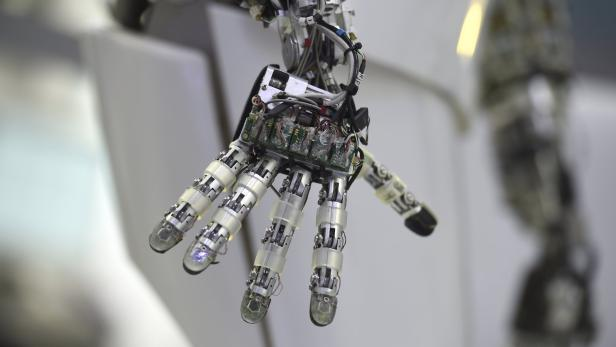 A hand of a robot is seen at the Robotics Innovati