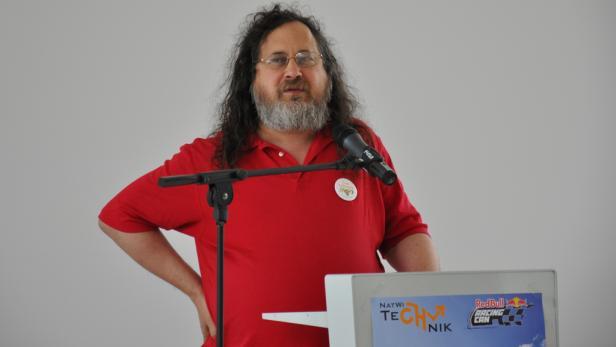 Richard Stallman bei seinem Vortrag an der Universität Innsbruck.