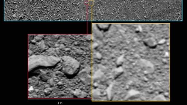 Links das letzte Foto von Rosetta. Rechts das Bild, das zuvor als das letzte Rosetta-Foto galt