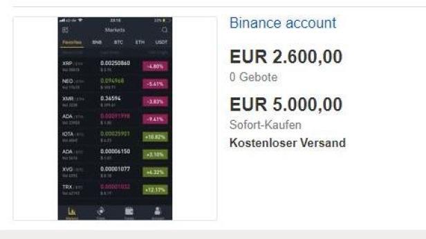 Ein Binance-Account steht zum Verkauf