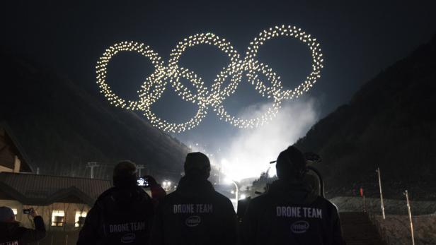 Olympische Ringe Drohnenschwarm