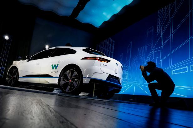 A Jaguar I-PACE self-driving car is pictured during its unveiling by Waymo in the Manhattan borough of New York