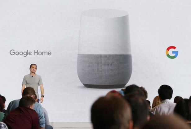 Mario Queiroz introduces the Google Home device during the presentation of new Google hardware in San Francisco