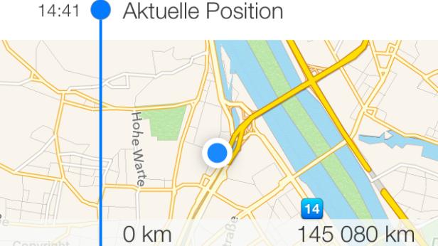 Über GPS-Tracking wird die aktuelle Fahrtroute festgehalten