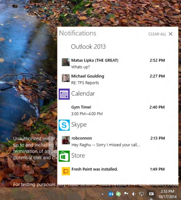 Vorschau auf das Windows 10 Benachrichtigungszentrum