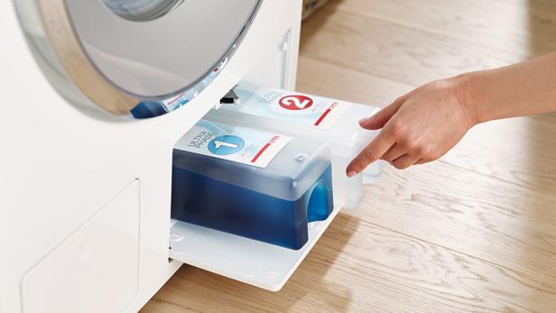 TwinDos-Kartuschen-System. Können auch mit eigenem Waschmittel befüllt werden