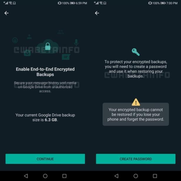 WhatsApp backup encryption process screenshots