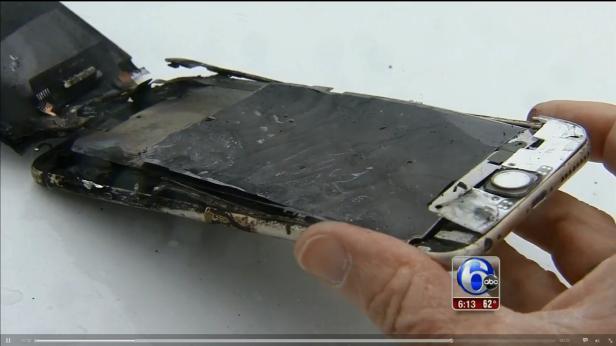Ein iPhone 6s Plus begann in der Hosentasche eines Studenten zu brennen. Dieser sagte, dass es bis auf einen kleinen Riss keine Probleme hatte
