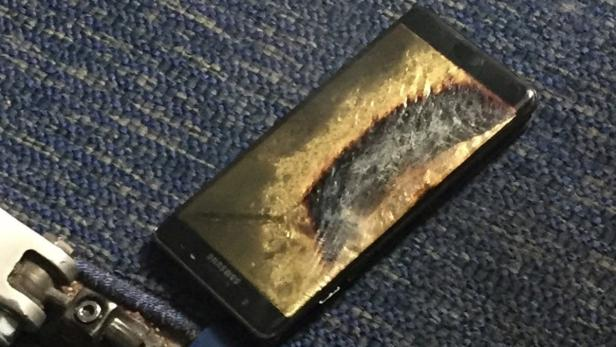 The burned Samsung Note 7 smartphone belonging to