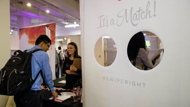 Job seekers and recruiters gather at TechFair in Los Angeles