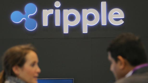 The logo of blockchain company Ripple is seen at the SIBOS banking and financial conference in Toronto