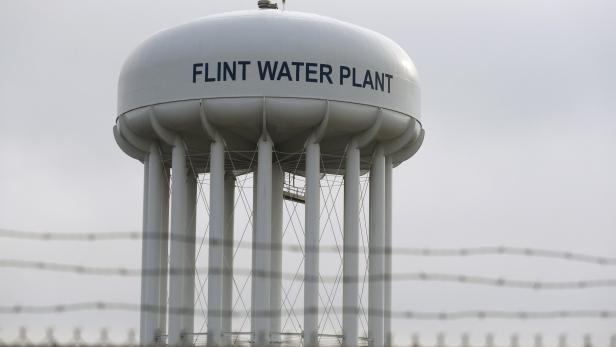 FILE PHOTO: The Flint Water Plant tower in Flint Michigan