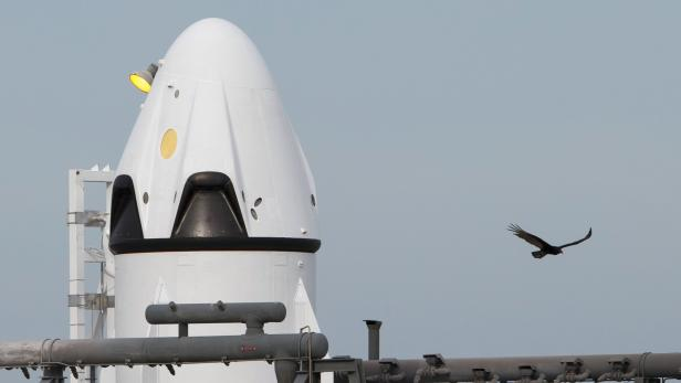 The unmanned SpaceX Crew Dragon sits on launch pad 40 before a Pad Abort Test at the Cape Canaveral Air Force Station in Cape Canaveral, Florida