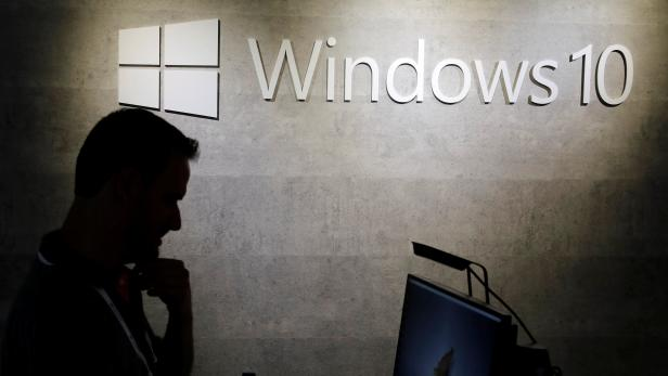 The logo of Windows 10 is seen during the annual Computex computer exhibition in Taipei