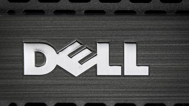 FILE PHOTO: Dell logo is pictured on the front of a computer in this photo illustration in the Manhattan borough of New York