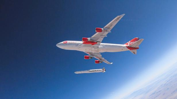 Richard Branson's Virgin Orbit, releases a rocket from underneath the wing of a modified Boeing 747 jetliner during a high-altitude drop test of the launch system for satellites near  Mojave, California