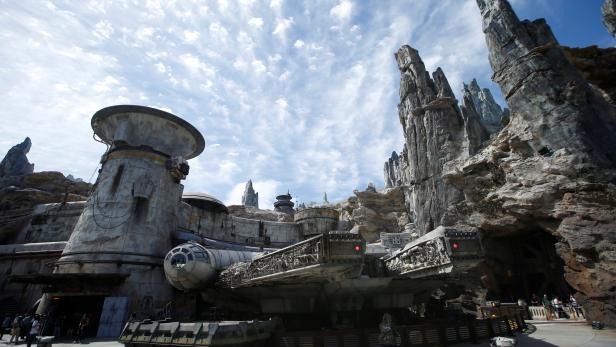 """The Millennium Falcon is pictured at """"Star Wars: Galaxy's Edge"""" during a media preview event at Disneyland Park in Anaheim"""