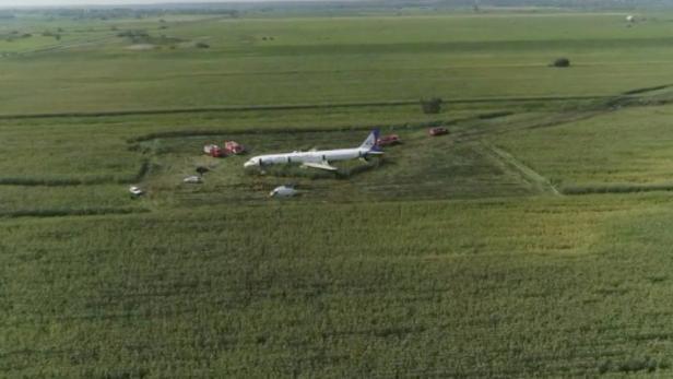 A view shows a passenger plane following an emergency landing near Moscow