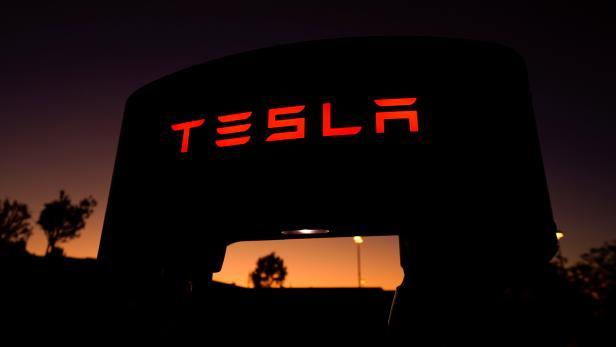 A Tesla supercharger is shown at a charging station in Santa Clarita, California