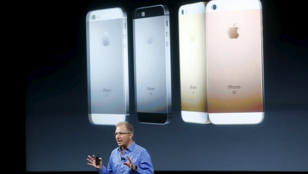 File photo of Apple Vice President Joswiak introducing the iPhone SE during an event at the Apple headquarters in Cupertino