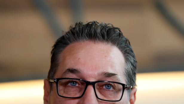 Former head of Freedom Party (FPOe) Heinz-Christian Strache addresses a news conference in Vienna