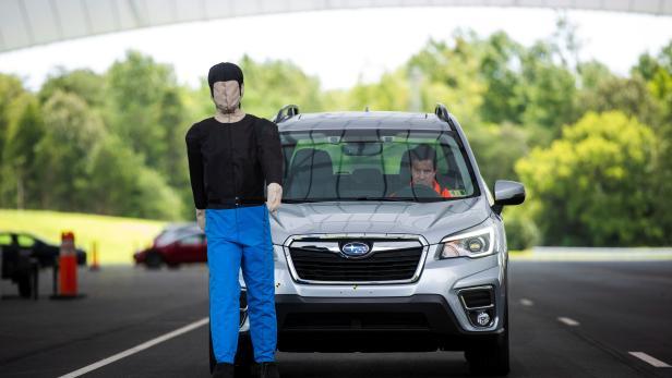 IIHS technician Floyd demonstrates pedestrian crash prevention test on Subaru Forester at IIHS-HLDI Vehicle Research Center in Ruckersville, Virginia