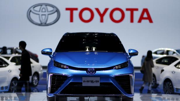 FILE PHOTO: A Toyota Mirai car is seen during a presentation at the 16th Shanghai International Automobile Industry Exhibition in Shanghai