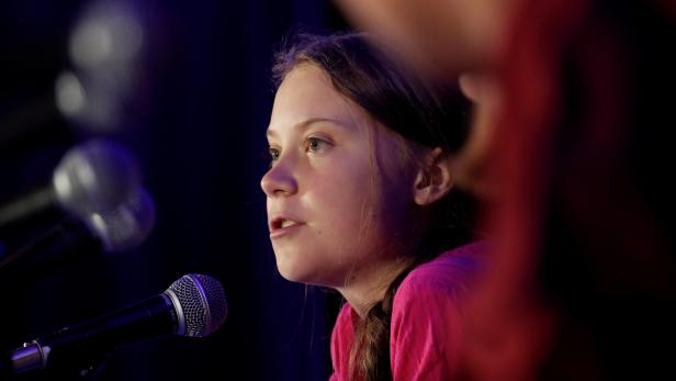 Swedish climate activist Greta Thunberg speaks during a news conference in New York