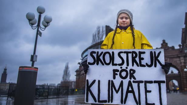 Greta Thunberg during her Friday climate change protest
