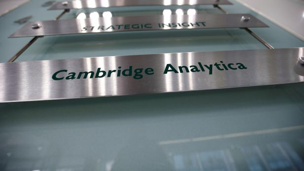 FILE PHOTO: The nameplate of political consultancy, Cambridge Analytica, is seen in central London