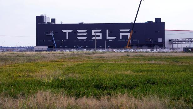 FILE PHOTO: Gigafactory of electric carmaker Tesla Inc is seen in Shanghai