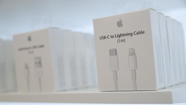 USB-C to Lightning Cable adapters are seen at a new Apple store in Chicago
