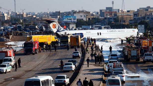 Iranian passenger plane skidds off runway onto road in southern city of Mahshahr