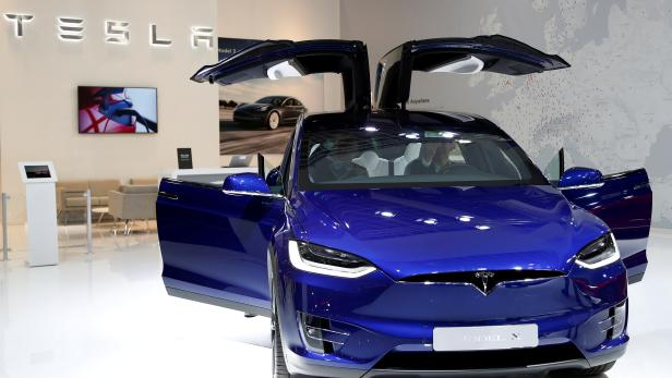 FILE PHOTO: A Tesla Model X electric car is seen at Brussels Motor Show