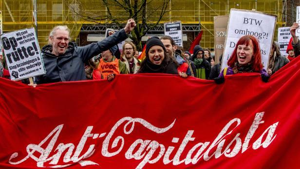 Demonstrators in red vests protest in Utrecht