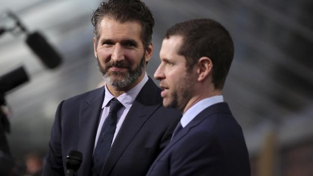 """FILE PHOTO: David Benioff and Dan Weiss, creators and executive producers, arrive for the season premiere of HBO's """"Game of Thrones"""" in San Francisco"""